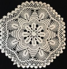 Vintage Crocheted Doily Ecru Large Very Pretty Design Scalloped Edge 20""