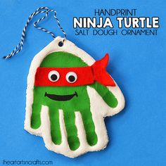 Handprint Ninja Turtle Salt Dough Ornament for Christmas!