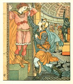 Princess Belle Etoile,  illustration by Walter Crane from 'The Song of Sixpence Picture Book'. Originally published in 1909. 'princess belle-etoile ran towards cheri, who did not know her in her helmet and male attire, and could neither speak nor move.' http://www.amazon.co.uk/gp/product/1444699733/ref=as_li_tl?ie=UTF8&camp=1634&creative=6738&creativeASIN=1444699733&linkCode=as2&tag=reaboo-21&linkId=N2OLRZFXFE4MA2HZ