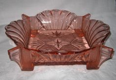 Part frosted pink glass large square bowl pattern 9091 by Brockwitz c.1941