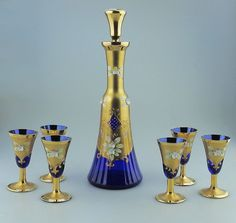 Italian Art Glass : Beautiful cobalt blue & gold Murano Decanter Set:  Mid 20thC #Murano