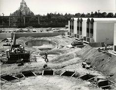 Disneyland's New Neighbor in the Shadow of the Matterhorn. Howard Johnson Motor Lodge under construction 1964.