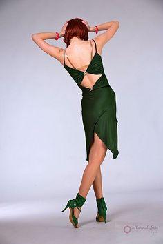 Natural Spin Signature Latin Dance Dresses:  LD78_Dark Green