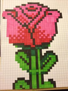 Rose pattern by Cheri Sampson App Drawings, Graph Paper Drawings, Graph Paper Art, Art Sketches, Pony Bead Patterns, Beading Patterns, Modele Pixel Art, Sharpie Drawings, Pixel Drawing