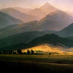 Caspar David Friedrich, Paesaggio con il Riesengebirge (1810) cm 58x45, Museo Pouchkine, Mosca