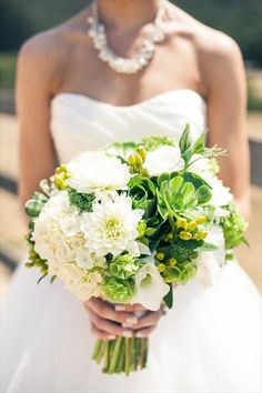 Bride's bouquets of dahilias, hydrangeas and succulents // HeyDay Photography // http://www.theknot.com/contests/my-real-wedding/photo/173392/adrienne-and-luke
