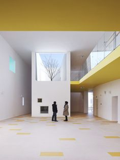 Schools | Country: China  Kindergarten in Jiading New Town by Deshaus -It's nice to see tree grows through picture window each season as symbolic of structure that house children's growth.