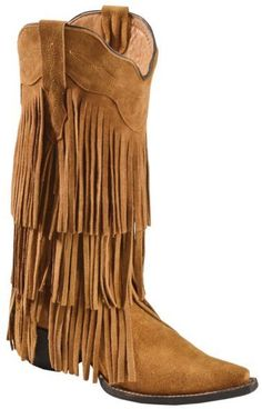 Tanner Mark Buttercup Suede Fringe Cowgirl Boots - ...