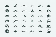Pack of 12 mountains logo, 62 icons by AliceNoir on Creative Market