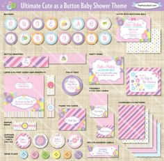 Cute as a Button Baby Shower Invitation digital by thepartystork
