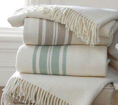 French Stripe Fringed Blanket #potterybarn