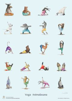· Yoga animal best selling poster painted in water color, inch or cm printed on fine textured paper. Check out the Yoga class that this quirky gang of animals is taking. The Cat is so… Kids Yoga Poses, Yoga For Kids, Pintura Yoga, Formation Yoga, Yoga Drawing, Animal Yoga, Yoga Illustration, Yoga Accessories, Yoga Positions