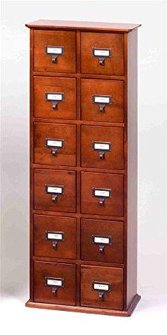 Amazon.com - Leslie Dame CD-228C Solid Oak Library File Media Cabinet, Cherry - Audio Video Media Cabinets