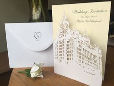 Liver building wedding invitation. Liverpool. Unique laser cut wedding invite. Personalised wedding invitation. Turn YOUR VENUE into a unique wedding invitation. An invite that everyone will be talking about.
