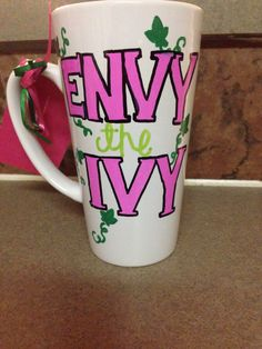 Envy the Ivy custom made coffee mug created by Hello Soror. Check out her Facebook and/Instagram pages.