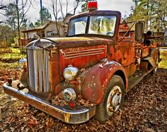 Rusted out Mack Fire engine