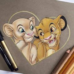 Managed to finish Nala and Simba before of July festivities! Hope everyone… Managed to finish Nala and Simba before of July festivities! Hope everyone… - Populaire Disney Dessin Cute Disney Drawings, Disney Sketches, Cute Drawings, Animal Drawings, Drawing Disney, Disney Kunst, Arte Disney, Disney Art, Bambi Disney