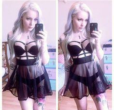One of a Kind - Harness Babydoll design made with soft mesh fabric and knitted elastic to fit comfortably Can be worn as a lingerie babydoll piece