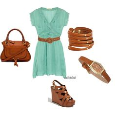 """""""mint and brown- great color combo"""" by ccrisci on Polyvore"""