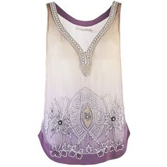 OF TWO MINDS TALITHA BEADED TANK ($335) ❤ liked on Polyvore featuring tops, shirts, tank tops, tanks, purple, pink tank, embellished tank tops, purple tank, beaded shirts and beaded tank top