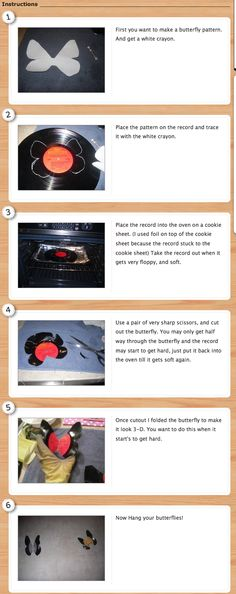 vinyl record butterfly tutorial from http://www.cutoutandkeep.net/projects/vinyl-record-butterfly#
