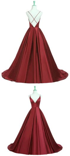 New Fashions Prom Dress,Burgundy Satin Plunge V Spaghetti Strap Floor Length Ball Gown Featuring Criss-cross Open Back, Formal Dress H0063 #modestpromdress #newpromdress #2018fashions #newstyles #ballgown #burgundypromdress