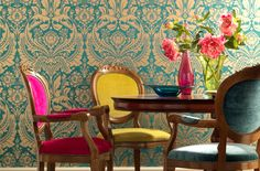 interior+design+-+interior+decor+-+eclectic+decor+-+bohemian+decor+and+design+-++dining+room+design+-+antique+chairs+-+colorful+upholstery+-+aqua+damaskwallpaper.jpg 540×356 pixels