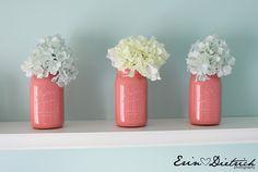painted mason jars as vases