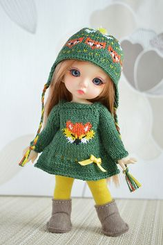 Pre-order Pukifee and Lati Yellow autumn Fox outfit Knitting Dolls Clothes, Crochet Doll Clothes, Knitted Dolls, Doll Clothes Patterns, Crochet Dolls, Cute Baby Dolls, Beautiful Barbie Dolls, Tiny Dolls, Child Doll