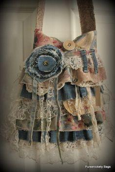 Gran bolso romántico gitano Victoriana Shabby Chic Vintage