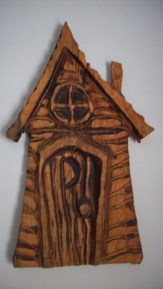 little outhouse or cabin  chainsaw carving wall by BadassWood, $15.00