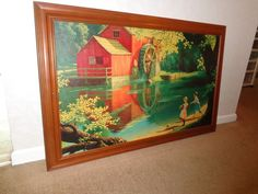 PAUL DETLEFSEN Lg.  Old Mill Stream Print, Vintage 1960's Framed 29 X 44 1/2…