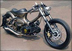 Concept Motorcycles, Honda Motorcycles, Custom Motorcycles, Custom Bikes, Honda Cub, Bobber Motorcycle, Motorcycle Design, Puch Maxi, Bike Cart
