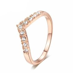 Cheap jewelry rings, Buy Quality wedding rings directly from China rings for women Suppliers: Rose Gold Color V Lover Shape Wedding Rings Popular Micro Pave Setting Cubic Zirconia Jewelry Ring for Women bijoux Wedding Band Sets, Wedding Rings Vintage, Wedding Rings For Women, Gold Fashion, Fashion Rings, Fashion Jewelry, Fashion Fashion, Elegant Engagement Rings, Engagement Jewelry