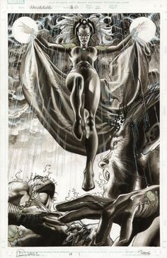 S. BIANCHI - STORM & WOLVERINE SPLASH Comic Art
