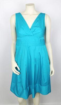 Nanette Lepore Turquoise Blue Cotton Sleeveless V-Neck Pleated Dress Size 4 #NanetteLepore #Sundress #Cocktail