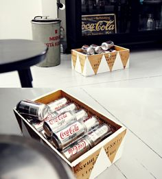 really like the idea of painting wooden boxes like this. simple and nice recycling of things. Painted Wooden Boxes, Wooden Crates, Wine Crates, Wine Boxes, 2nd Hand Furniture, Furniture Design, Painted Furniture, Coca Cola, Decor Crafts