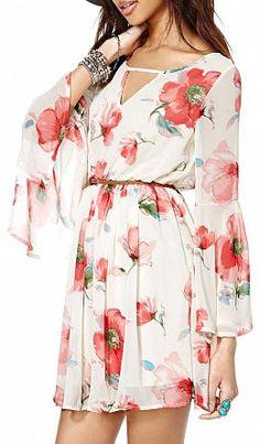 White Long Sleeve Floral Chiffon Dress. Gorgeous!