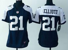 Women's Dallas Cowboys Jersey #21 Elliott Blue Thanksgiving NFL Nike Game Jersey