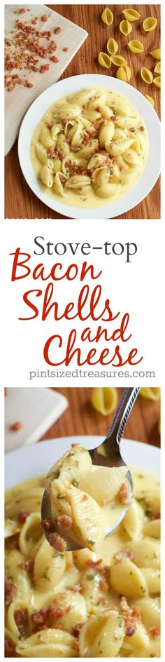 Stove-top bacon shells and cheese is an easy, homemade dish that's comfort foodie approved! You'll be tossing your instant mac and cheese stash when you dive into this recipe --- guaranteed! @alicanwrite