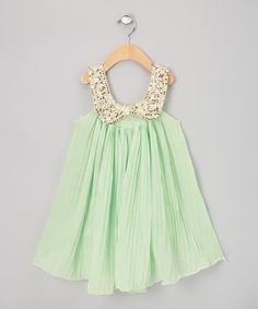 Vintage-inspired Mint Pleated Sequence Dress
