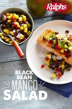 Cinco De Mayo Discover Black Bean Mango Salad This versatile mix of summer ingredients tastes great on almost anything and will add cheery color to your plate. Serve it with tortilla chips burgers grilled chicken or your favorite fish like salmon. Salad Recipes, Diet Recipes, Vegetarian Recipes, Cooking Recipes, Healthy Recipes, Recipies, Mango Recipes, Recipes Dinner, Delicious Recipes