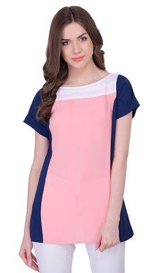 665d8b6596 Peach and Blue Color Georgette Casual Wear Plain Top