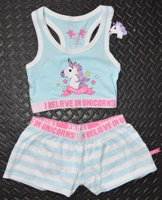 UNICORN PRIMARK Crop Vest & Shorts Set I BELIEVE PJ PYJAMAS 4 - 20