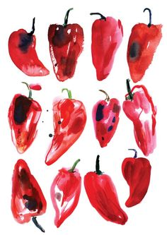 "Saatchi Art Artist Meta Wraber; Painting, ""Red Peppers"" #art"