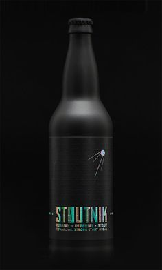 Stoutnik Russian Imperial Stout, from Longwood Brewery. The packaging design features a matte black bottle, prismatic foil stamp on the logo and wordmark, and an embossed Morse Code story about the beer. Design by Hired Guns. Bottle Packaging, Brand Packaging, Foil Packaging, Craft Beer Labels, Beer Label Design, Party Fiesta, Alcohol Bottles, Beer Bottles, Beer Brands