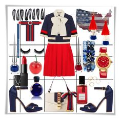 """Red n Blue"" by smriti4520 ❤ liked on Polyvore featuring Gucci, Rupert Sanderson, Versace, NARS Cosmetics, Diana Vreeland Parfums, Lacoste, Accessorize, Tony Moly, Christian Louboutin and Lydell NYC"