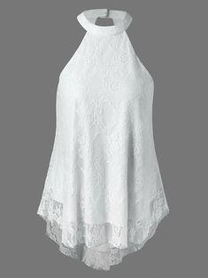 Cut Out Lace Tank Top - WHITE XL