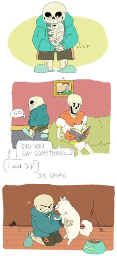 Sans, Papyrus, and dog - http://nhaingen.tumblr.com/post/130232455174/sans-dont-be-nice-to-toby-in-a-roundabout-way