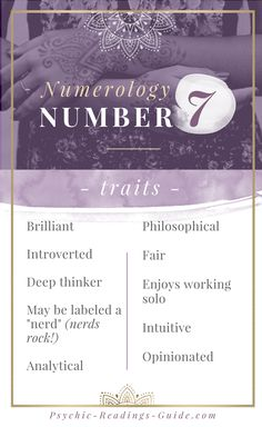 Numerology number 7 is super brilliant and philosphical. Read all about the number 7 traits, relationship matches, careers, and challenges. life path calculator life path how to life path number life path relationships life path spiritual Numerology Number 7, Numerology Horoscope, Numerology Compatibility, Numerology Chart, Destiny Quotes, Life Quotes, Birthday Charts, Numerology Calculation, Number Meanings
